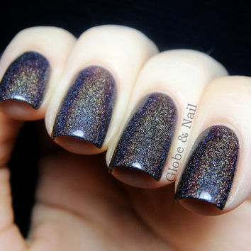 "Euphoria Nail Polish - Chocolate Plum Linear Holographic - Full Size 15 ml Bottle -""This item made the front page of Etsy"""