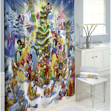 Disney Characters Christmas Edition Waterproof Shower Curtain 60 x 72 66 x 72
