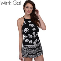 Wink Gal Black Rompers Womens Jumpsuit Elephant Printing Sexy Overalls