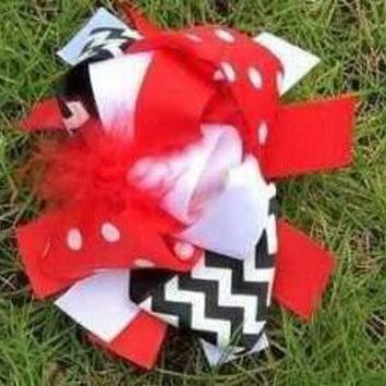Girls Red/Black/White Boutique Bow