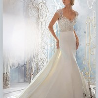 White Mermaid Beading Satin 2013 Wedding Dress IWD0238 -Shop offer 2013 wedding dresses,prom dresses,party dresses for girls on sale. #Category#