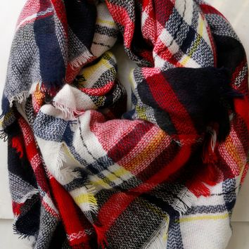 Woven Plaid Scarf Red/White