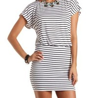 Striped Blouson T-Shirt Dress by Charlotte Russe - Black/White