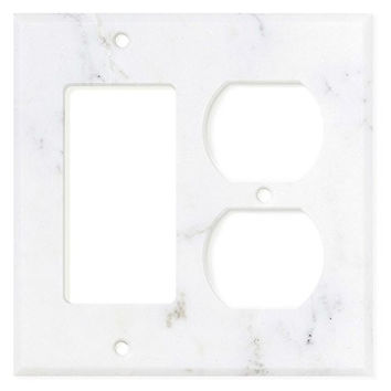 Italian Calacatta Gold Marble Rocker Duplex Switch Wall Plate / Switch Plate / Cover - Honed