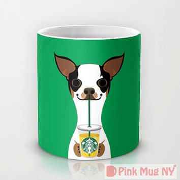 Personalized mug cup designed PinkMugNY - I love Starbucks - Boston Terrier