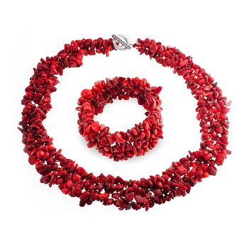 Enhanced Red Dye Coral Bib Statement Necklace Bracelet Silver Plated