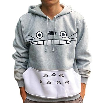Anime Totoro Cartoon Print Women Hoodies Sweatshirts Hooded Pockets Harajuku Hoodies Korean Autumn Female Kawaii Pullovers 30*/J