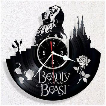 BEAUTY AND THE BEAST VINYL RECORD WALL CLOCK UNIQUE DESIGN
