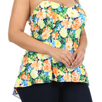 Floral Sweetheart Neck Hi-Lo Top - Yellow  - Plus Size - 1X - 2X - 3X
