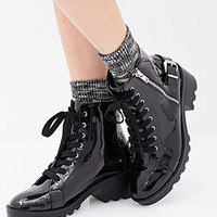 Patent Faux Leather Combat Boots
