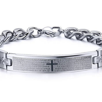 Stainless Steel Bible Cross ID Link Bracelet Bangle for Christ Lord Prayer,Silver,Width 9mm,8.3 inch