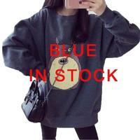 Kawaii Totoro Print Women Hoodies Sweatshirt 2017 O-Neck Long Sleeve Cotton Anime Loose Harajuku Pullovers Female Plus Size 45@/