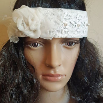 ON SALE Gatsby Flapper Roaring 20's Wedding Headband, Ivory Bridal  Headpiece,  Boho Hippie Lace Wedding Hairpiece, Headband