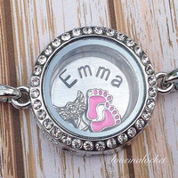 Baby Memorial Bracelet, Baby Girl Memorial, Hand Stamped Memorial Bracelet, Memorial Floating Locket, Memorial Necklace, Infant Loss Gift