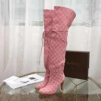 Gucci Rope Drawstring Canvas Lace-up Knee length high tube women boots pink