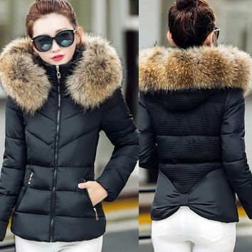 Faux Fur Collar Hooded Slim Fit Parka Jacket