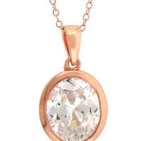 Lord & Taylor Rose Gold Over Sterling Silver and Cubic Zirconia Pendant Necklace