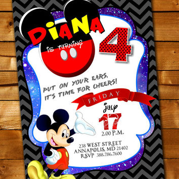 Mickey Mouse Birthday Invitation, Birthday Invitation for little boy and little girl