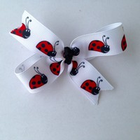 Lady Bug Hair Bows-Hair accessories-Hair loop bows