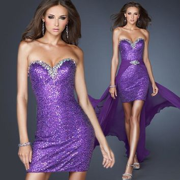 Promotion!Sexy Sequined Sweetheart Short Front and Long Back with Detachable Train Homecoming Dress/ Cocktail Gown AH964