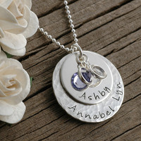 Mother's necklace - hammered and smooth combo - personalized - hand stamped - birthstones - stacked