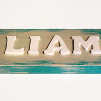 Rustic Name Sign in Patina Green
