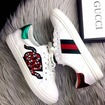 Gucci Old Skool Women Fashion Snake Embroidery Sneakers Sport Shoes