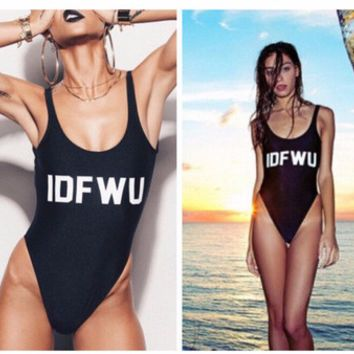"Modern Trendy ""IDFWU"" Print Monokini One-Piece Swimsuit"