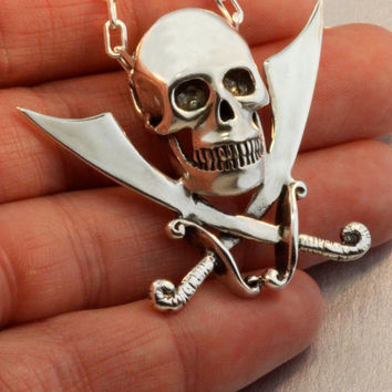 Skull Necklace - Skull and Crossed Cutlass Necklace - Pirate Necklace Pirate Jewelry - Sword Necklace
