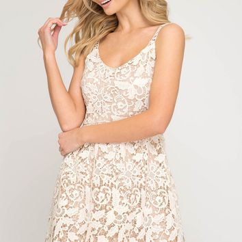 Cream Crochet Lace Fit Flare Dress