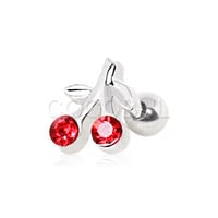 316L Surgical Steel Gemmed Cherry Cartilage Stud Earring