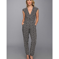 TWO by Vince Camuto Belted Waist Garden Rows Pantsuit