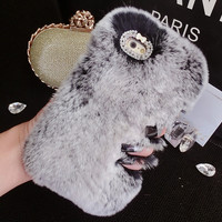 Bling Crystal Rhinestone Design Fashion Colour Fluffy Soft Genuine Rabbit Fur Handmade Winter Warm Case for iPhone 7 se 6 6s Plus Gift