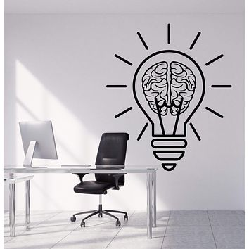 Vinyl Wall Decal Bulb Idea Brain Motivation Decor For Office Stickers Unique Gift (1953ig)