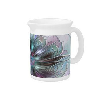 Colorful Fantasy, abstract and modern Fractal Art Pitcher