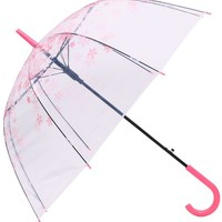 AMC Clear Transparent Cherry Blossom Bubble Dome Shape Semi-Automatic Umbrella
