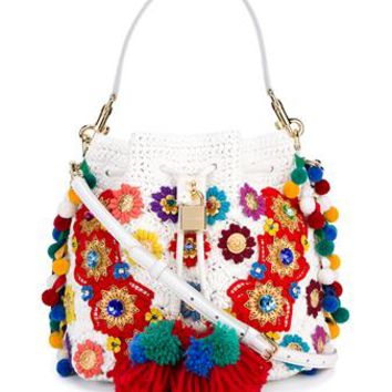 DOLCE & GABBANA | Claudia Pompom Python Skin and Raffia Bucket Bag | Womenswear | Browns Fashion