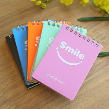 A5 A7 Smile Notebook Cute Mini Coil Notepad Convenience Spiral Daily Memos Composition Travel Journal Slimming Records Note Book