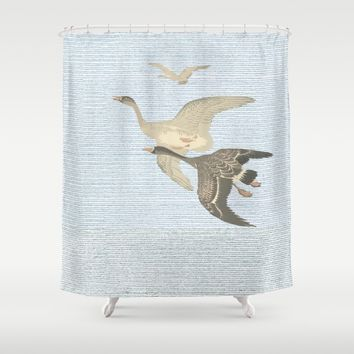 Nothing to match the flight of wild birds flying Shower Curtain by anipani