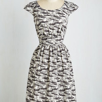 Nautical Long Sleeveless Fit & Flare Get What You Dessert Dress in Marina by Emily and Fin from ModCloth