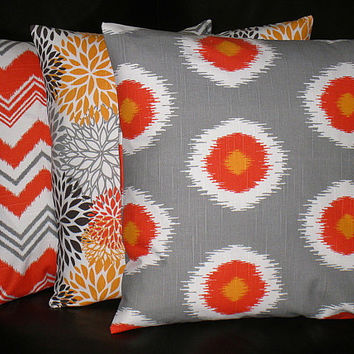 "Pillows Decorative Pillows TRIO chevron, bloom, ikat 16 inch Throw Pillow Covers gray 16"" orange, brown, grey, chili pepper"