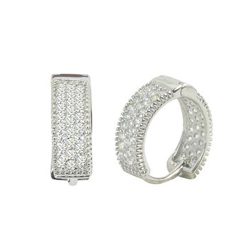 Sterling Silver Earrings Huggie Hoops Micropave CZ 14mm x 4mm