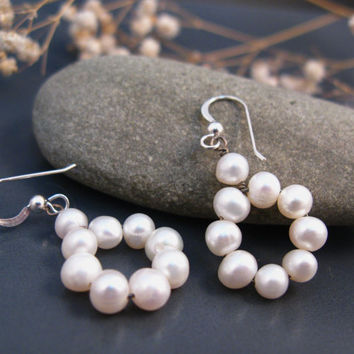 Drop pearl earrings in sterling silver, bridesmaids earrings in white pearls