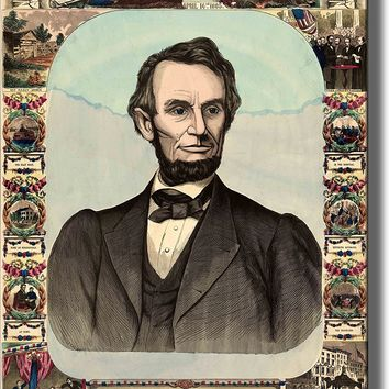 Abraham Lincoln Antique Picture Made on Acrylic Wall Art Decor Ready to Hang!.