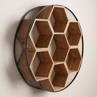 Round Metal and Wood Honeycomb Wall Storage