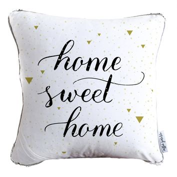 Home Sweet Home Calligraphy Decorative Throw Pillow Cover w/ Reversible Gold and White Sequins | COVER ONLY (Inserts Sold Separately)