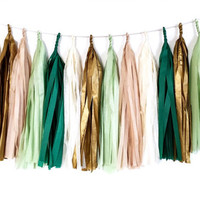 Golden Emerald Green Tassel Garland - Tissue Paper Tassel Garland - Party Decoration // Wedding Decor // Kids Room Decoration