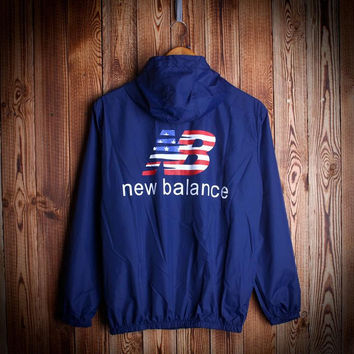 Fashion Navy Blue Unisex NEW BALANCE Hooded Jacket Lightweight Christmas Gift