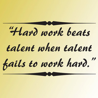 vinyl wall art decal HARD WORK beats TALENT word phrase quote saying wall sticker decor