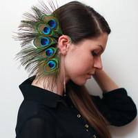 Feather Ear Cuff - Peacock's Eyes